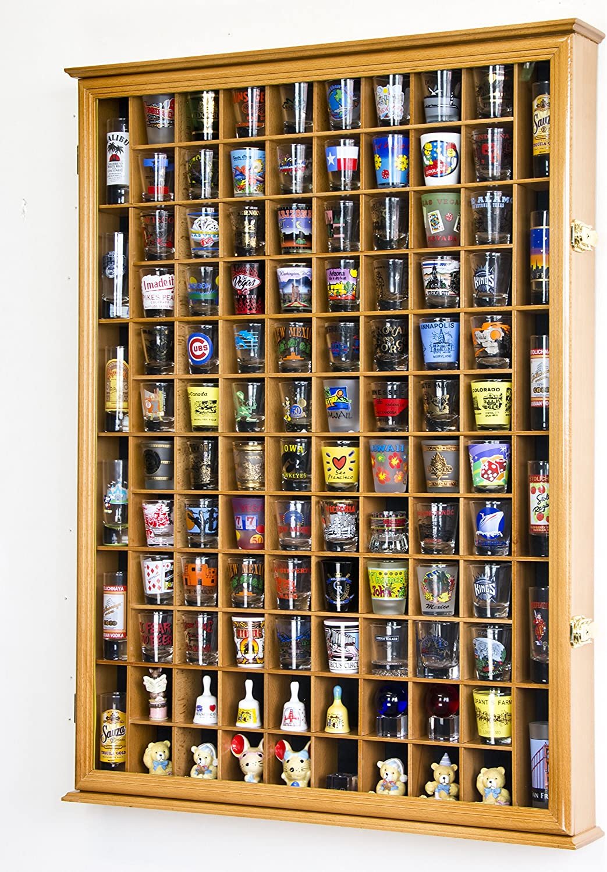 108 Shot Glass Shotglass Shooter Display Case Holder Cabinet Wall Rack 98% UV Lockable Door -Oak