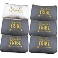 6 Piece Set | Bride Tribe Canvas Cosmetic Makeup Clutch Gifts Bag for Bridesmaid Proposal Box & Bridesmaids Bachelorette Party Favors (Grey)
