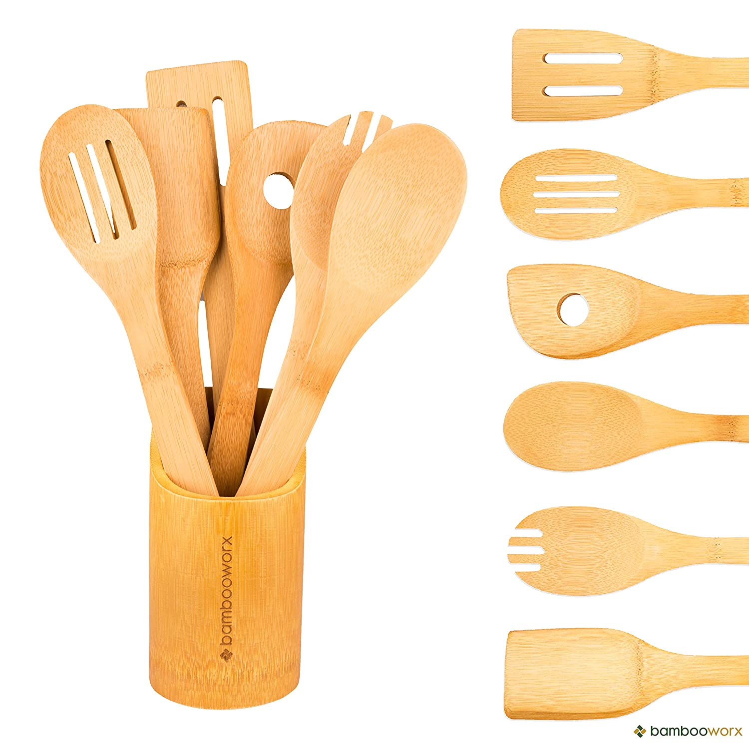 Amazon.com: BambooWorx Bamboo Cooking Utensils Set  6 Pieces + Holder,  Wooden Spoons U0026 Spatulas, Kitchen Utensils, ♻ All Natural Bamboo.: Home U0026  Kitchen
