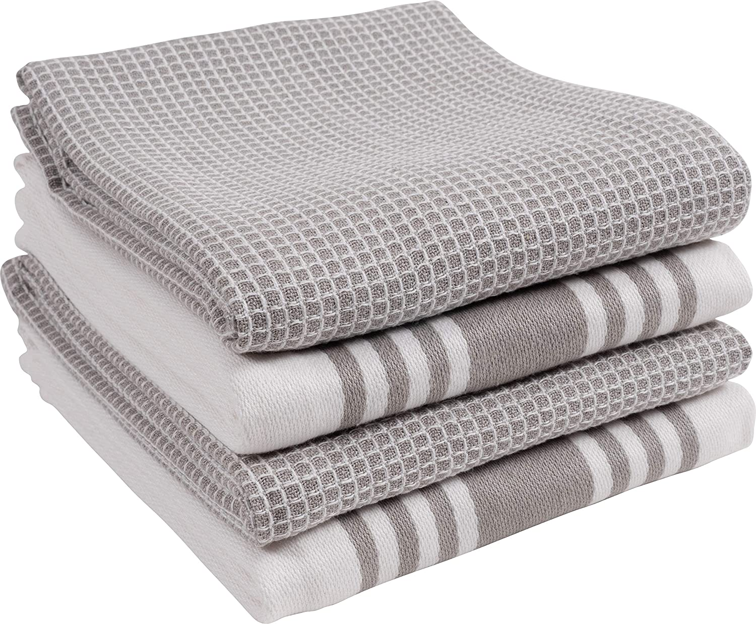 KAF Home KT-MADWF-DZ-S4 Centerband and Waffle Flat Absorbent, Durable, Soft, and Beautiful Towels | Perfect for Kitchen Messes and Drying Dishes, 18 x 28 - Inches Drizzle