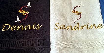 Juego de toallas de mano Paloma/banda de amor y parche con nombre bordado,