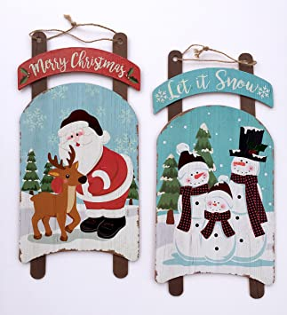 Amazoncom Merry Christmas Sign Set Santa Claus Sign Wooden