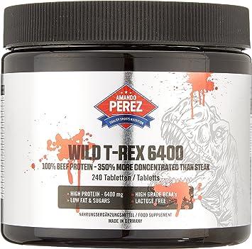 Wild T-REX 6400-100% Beef Protein - 350% más concentrado que el filete - 240 tabletas