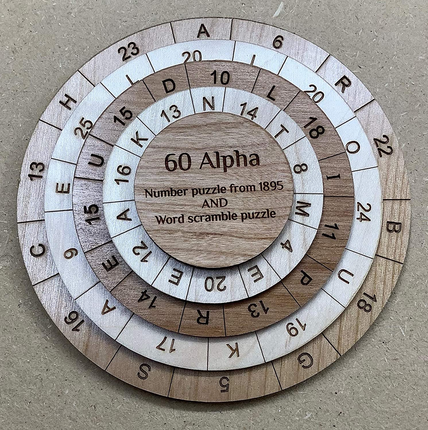60 Alpha math puzzle from 1895 and a word search puzzle