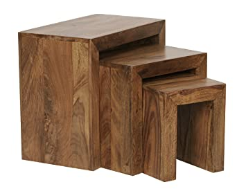 FineBuy 3er Set Satztisch Massivholz Sheesham Wohnzimmer Tisch  Landhaus Stil Beistelltisch Dunkel Braun