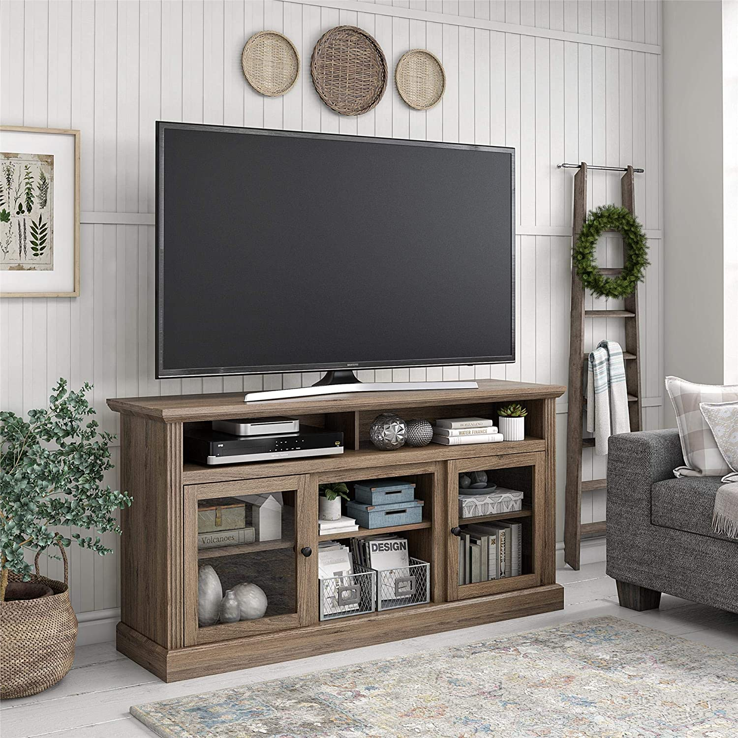 Ameriwood Home Chicago 65 , Rustic Oak TV Stand,