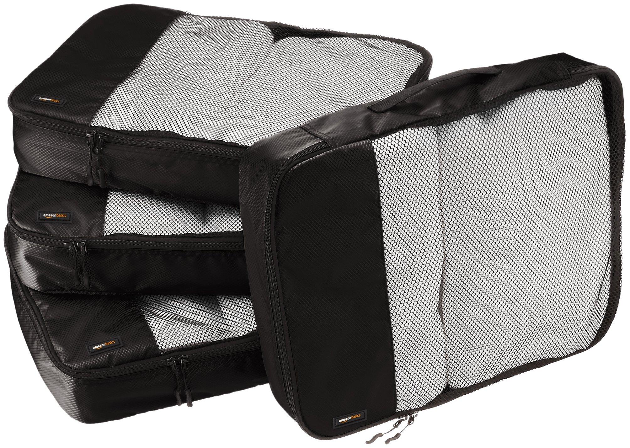 AmazonBasics 4 Piece Packing Travel Organizer Cubes Set - Large, Black by AmazonBasics