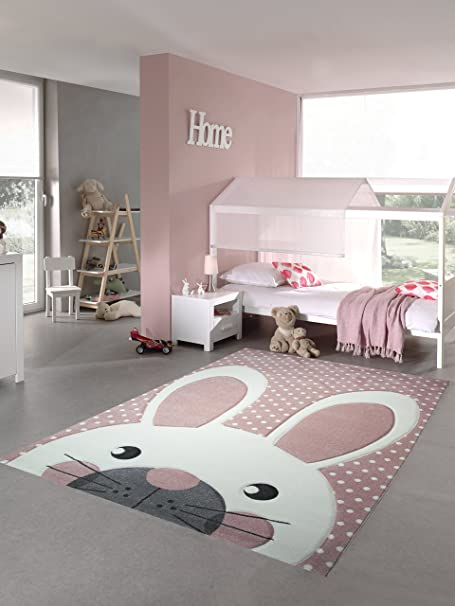 Kids rug childrens carpet game carpet bunny pink grey rose size 80x150 cm