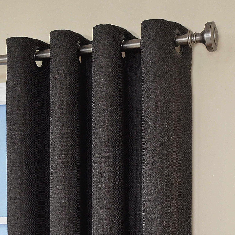 amazoncom eclipse wyndham grommet brushed nickel blackout window curtain panel 63inch charcoal home u0026 kitchen