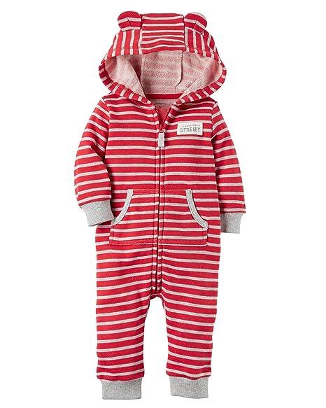 e0a1fb82c Amazon.com  Carter s Baby Boys Brushed Fleece Hooded Romper Jumpsuit ...