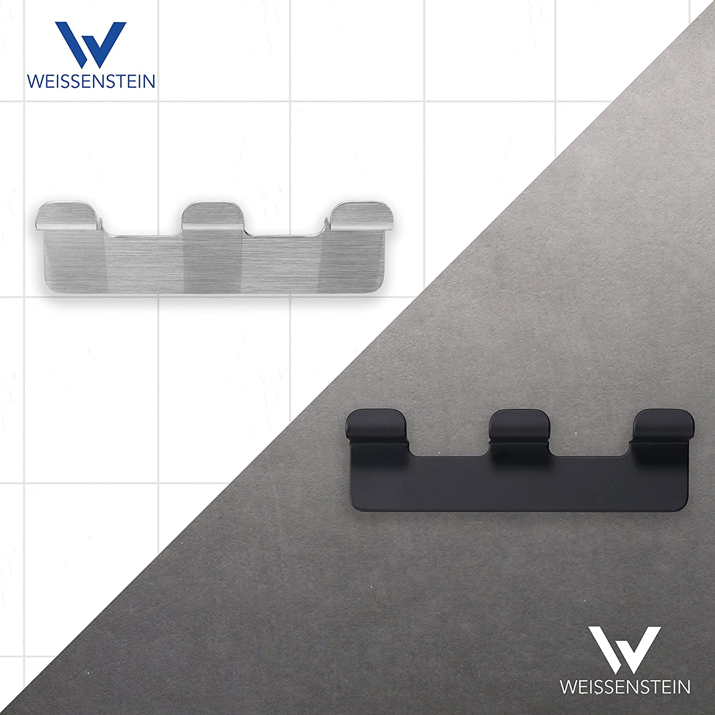 Appendini porta asciugamano in acciaio inox argento WEISSENSTEIN Set 4 ganci bagno adesivi da parete 4 ganci 3 x 3,3 x 4,9 cm