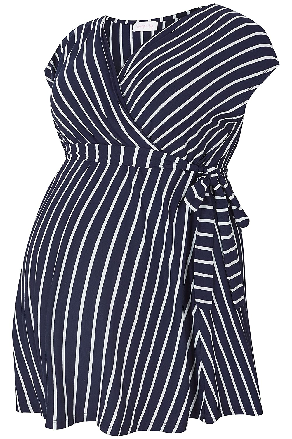 Yours Womens Plus Size Bump It Up Maternity Navy /& White Striped Wrap Top