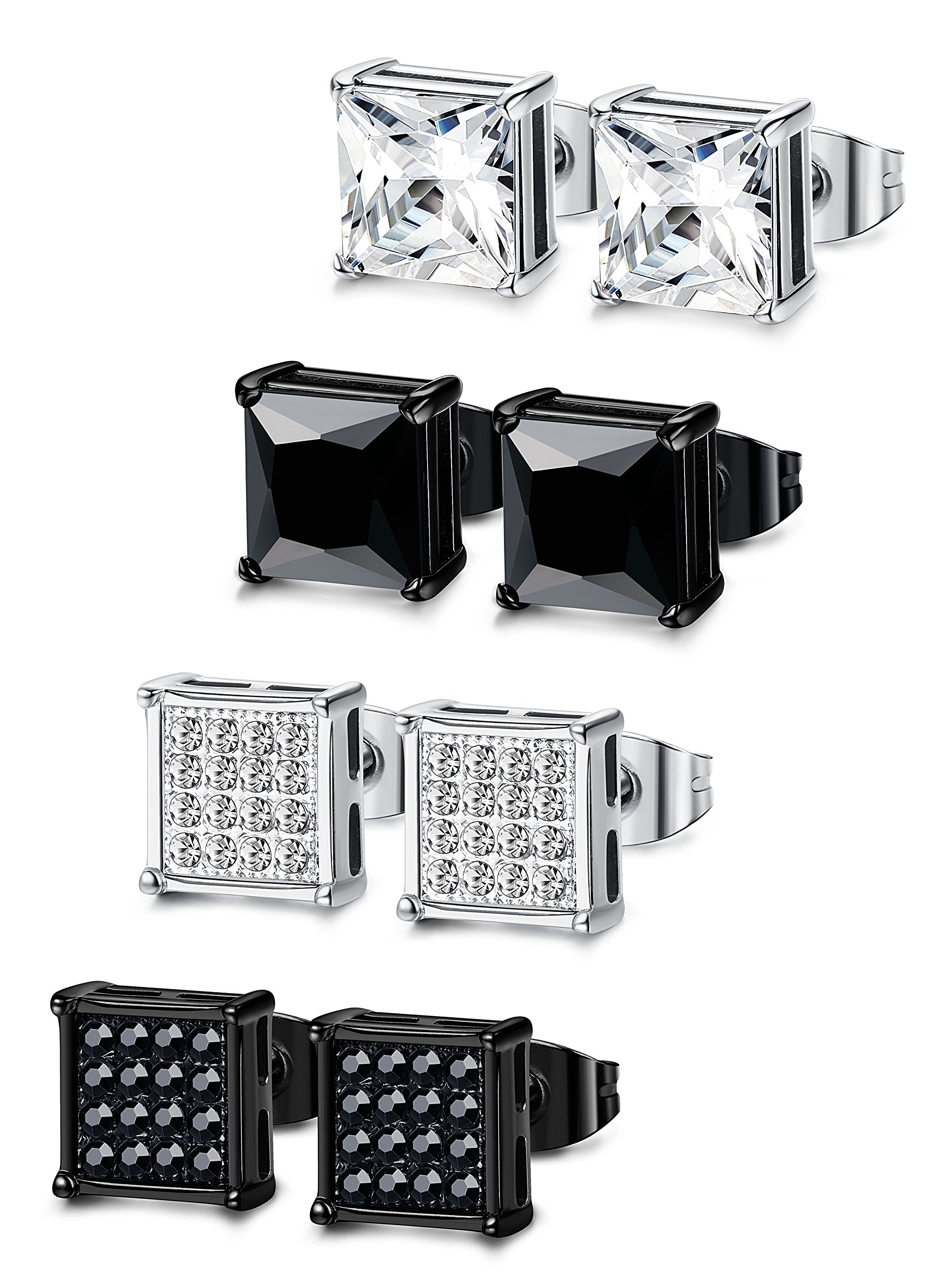 Jstyle 4 Pairs Stainless Steel Mens Womens Stud Earrings Square Cubic Zirconia Piercing 20G 8mm