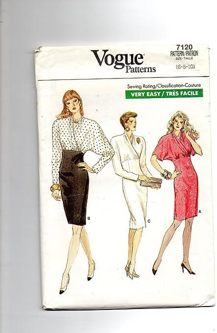 6fb05dbcf99 Amazon.com  Vogue 7120 Misses Dress 6-8-10 Sewing Pattern