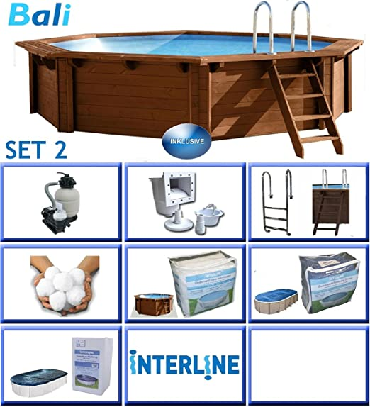 Interline 50700226 Bali a y 96188 Pool Set 2 madera pared Piscina ...