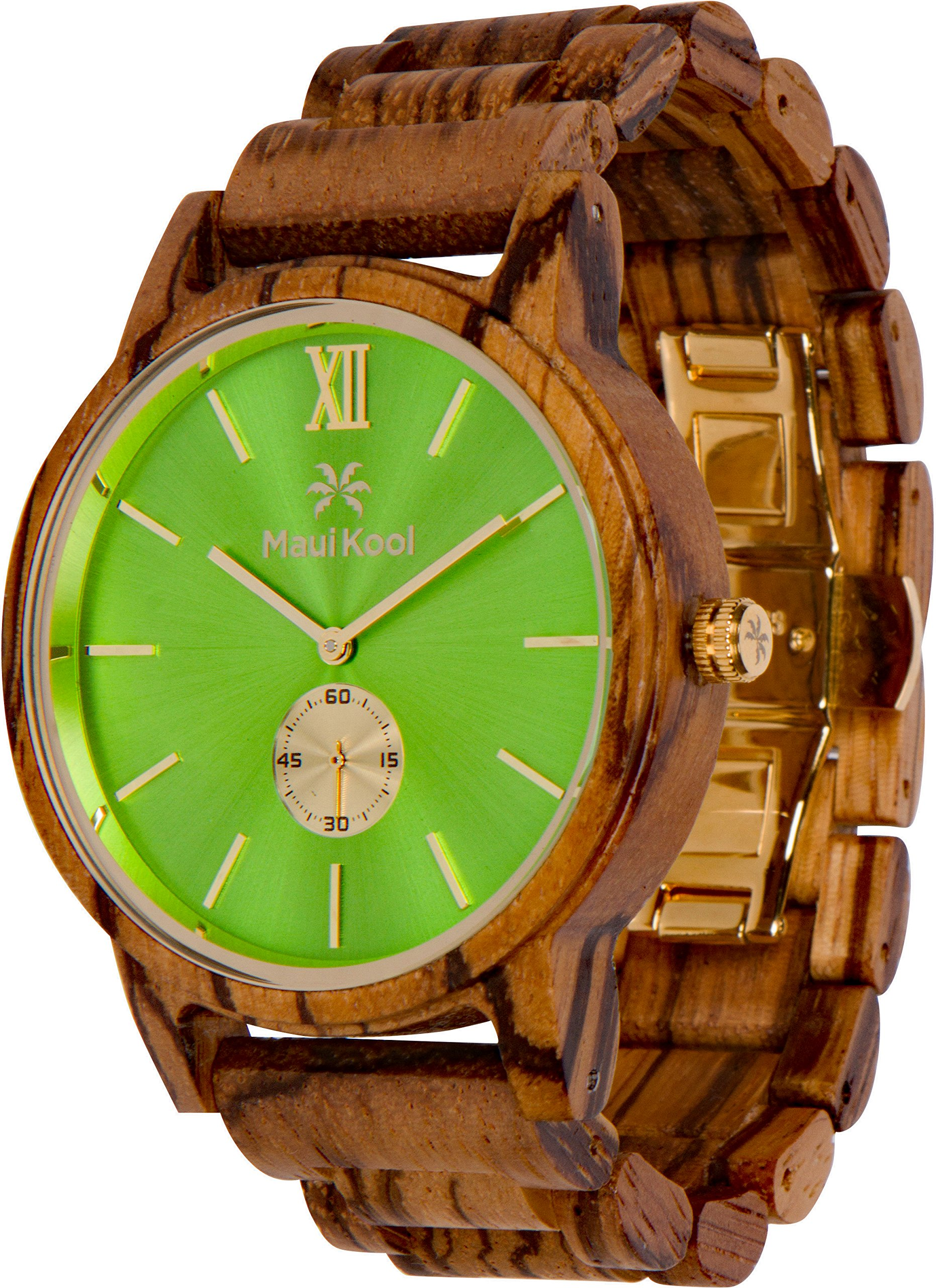 Wooden Watch For Men Maui Kool Kaanapali Collection Analog Large Face Wood Watch Bamboo Gift Box (C6 - Green Face) by Maui Kool (Image #6)