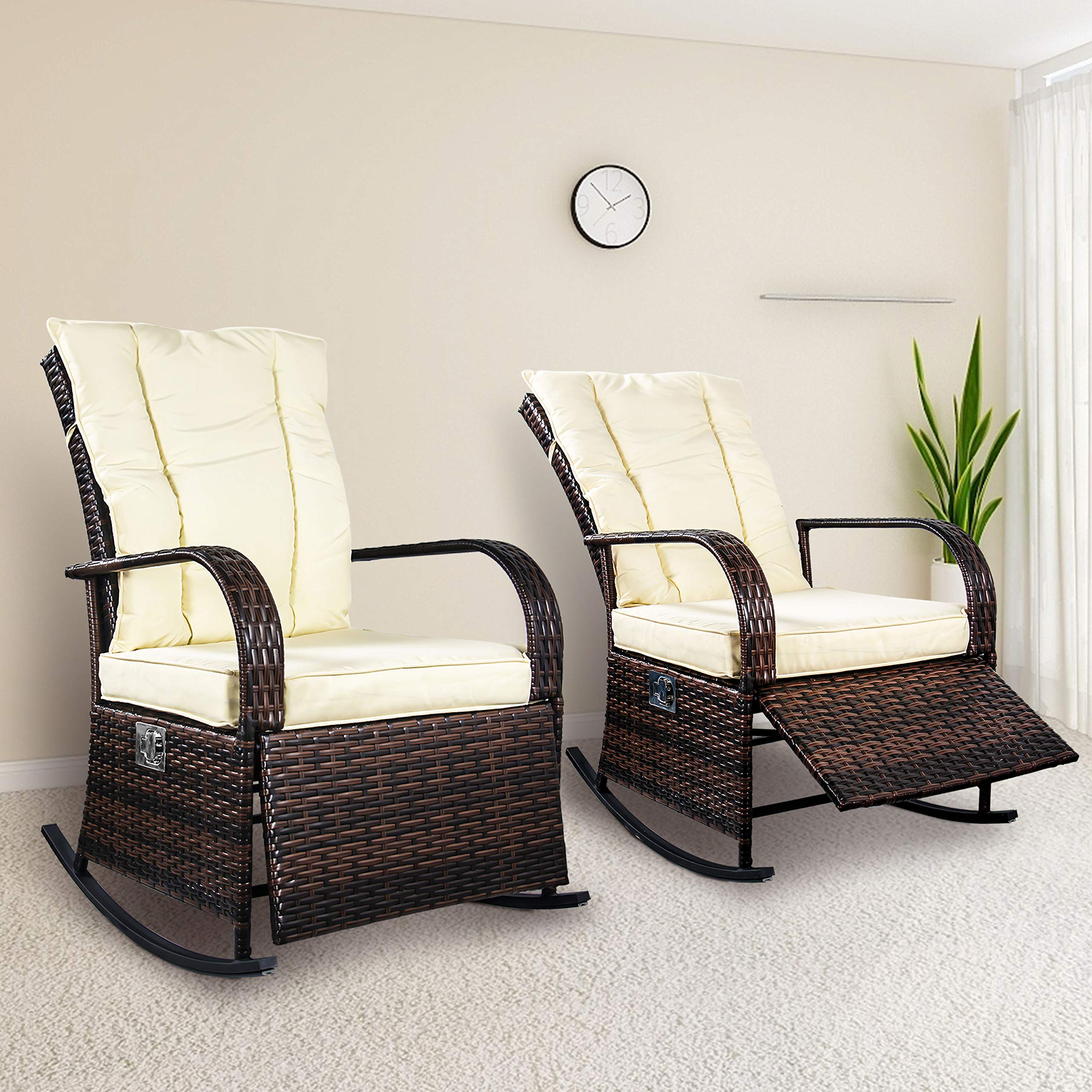 Set of 2 Indoor & Outdoor PE Wicker Rocking Chair Porch Garden Lawn Deck Auto Adjustable Rattan Reclining chiar Patio Furniture w/Water-Proof Cushion