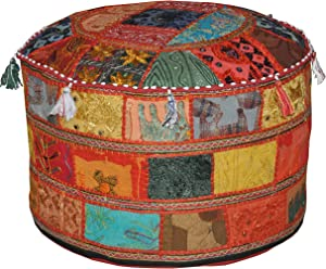 Marubhumi Indian Pouf Stool Vintage Patchwork Embellished with Patchwork Living Room Ottoman Cover, 23 X 13 Inches, Only Cover, Filler not Included