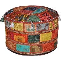 Marubhumi Traditionele decoratieve Ottomaanse comfortabele vloerkussens kruk met versiering met borduurwerk & patchwork…