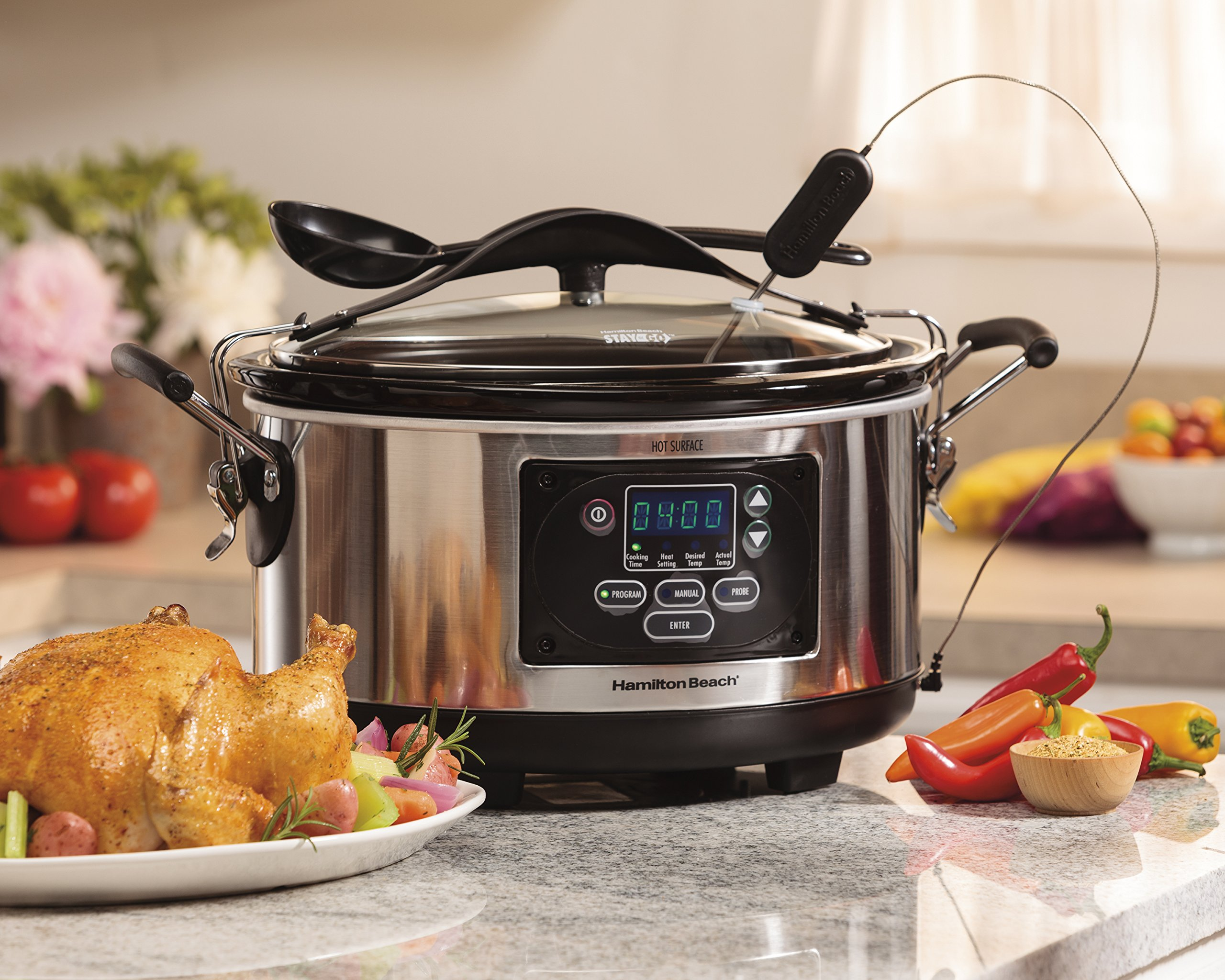 Hamilton Beach (33967A) Slow Cooker With Temperature Probe, 6 Quart, Programmable, Stainless Steel by Hamilton Beach (Image #4)