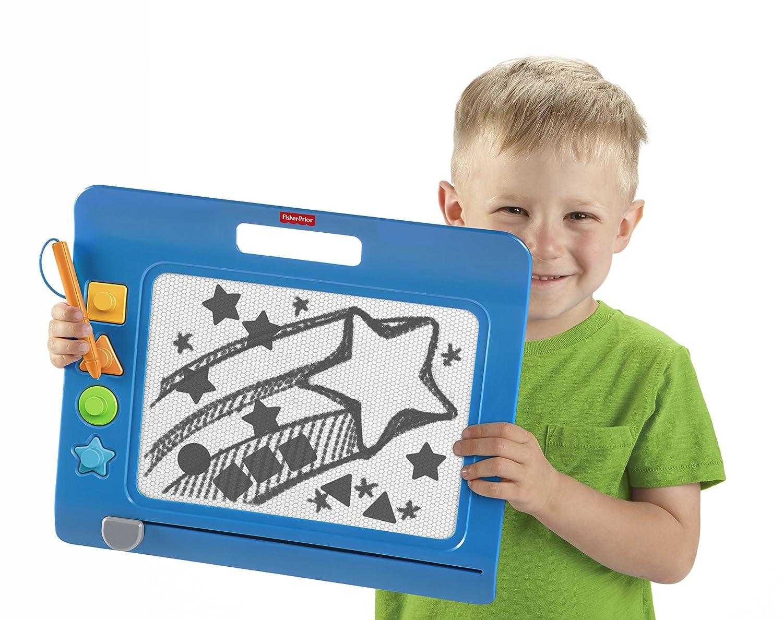 blau Fisher-Price CHH59 Doodle Pro Stempelspaß magnetische Maltafel Zeichentafel für Kinder ab 3 Jahren