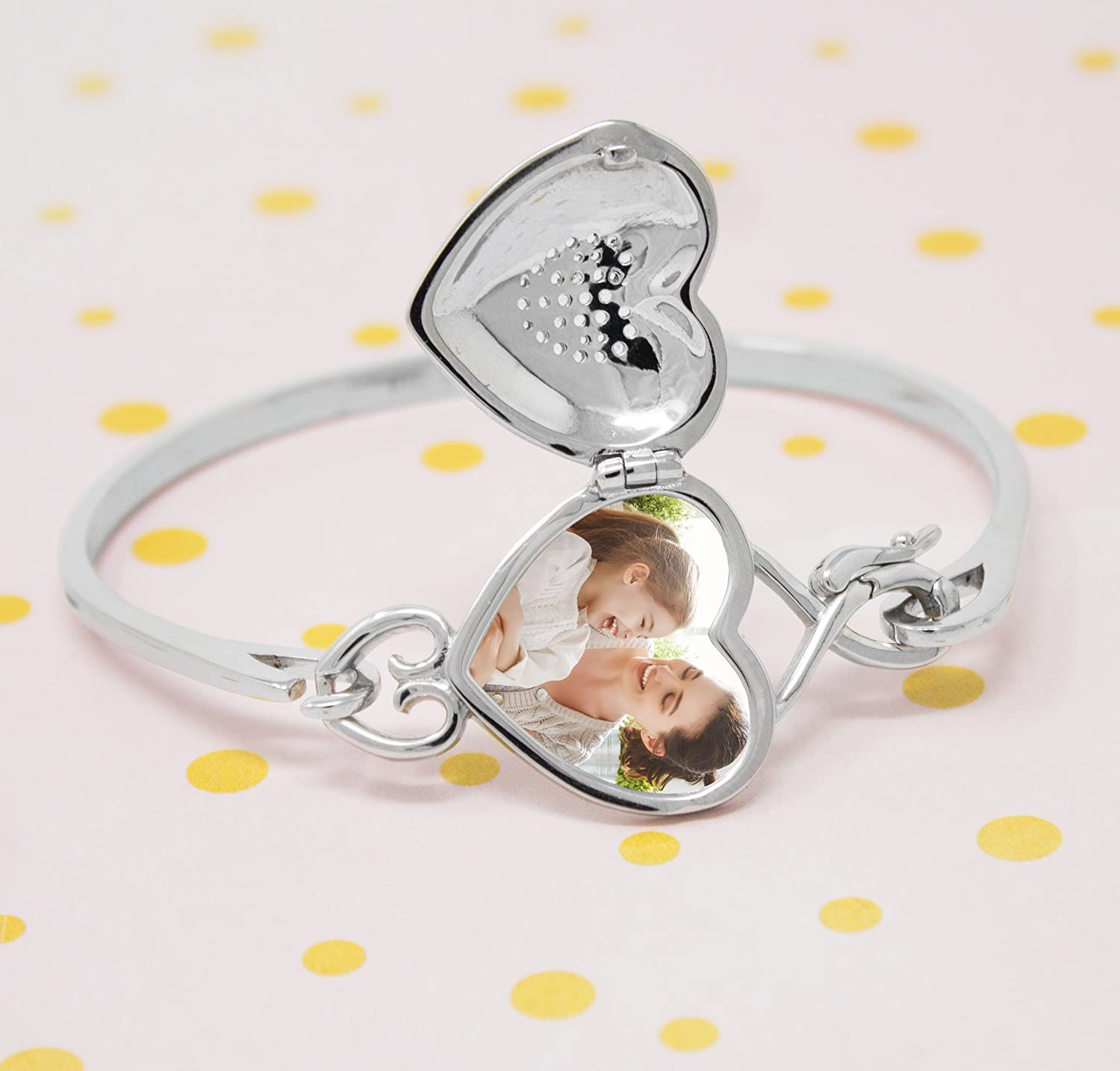 With You Lockets-Sterling Silver-Custom Photo Heart Locket-Bangle Bracelet-That Holds Pictures-The Annabelle