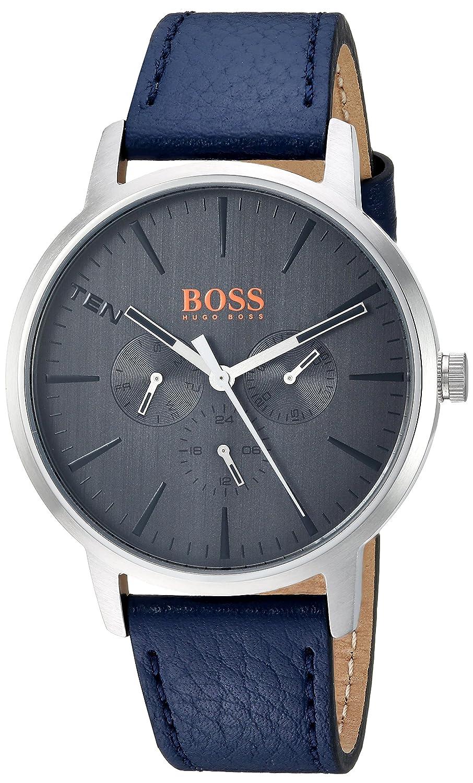 3b926c41bb7 Amazon.com  HUGO BOSS Orange Men s  Copenhagen  Quartz Stainless Steel and  Leather Casual Watch