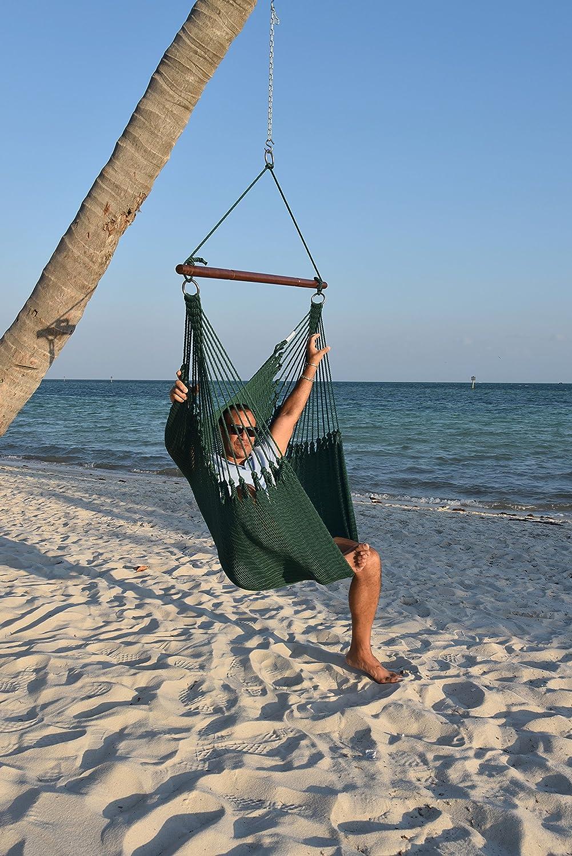 Caribbean Hammocks Jumbo Hammock Chair with Footrest - 55 inch - Green - 300 lbs Weight Capacity
