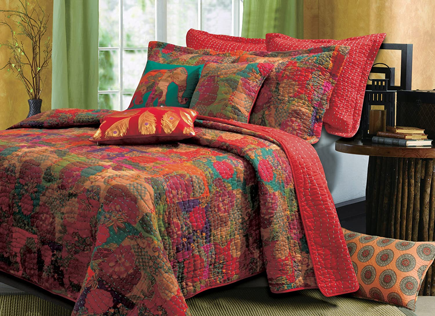 Greenland Home 5-Piece Jewel Bonus Quilt Set, Full/Queen