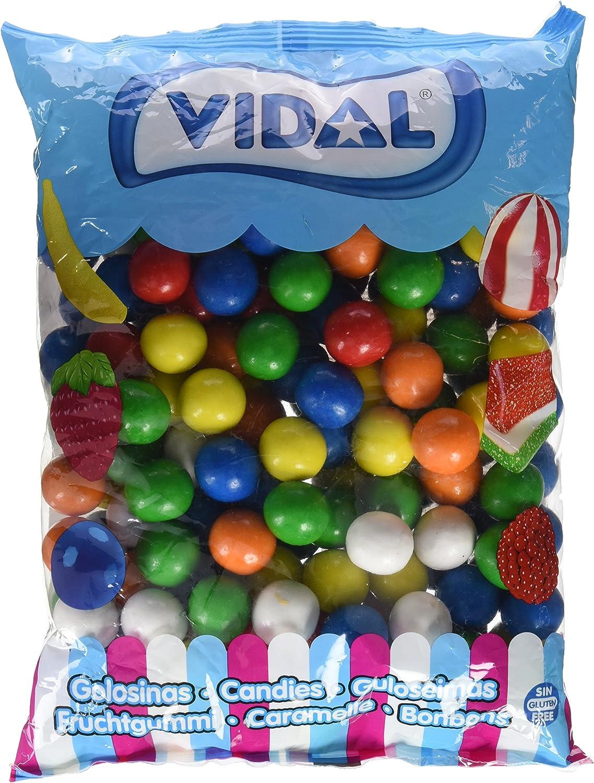Vidal Golosinas. Bolas de Chicle Grageado de 28 mm. Surtido de deliciosos sabores: limón, naranja y fresa. Bolsa 2 kg