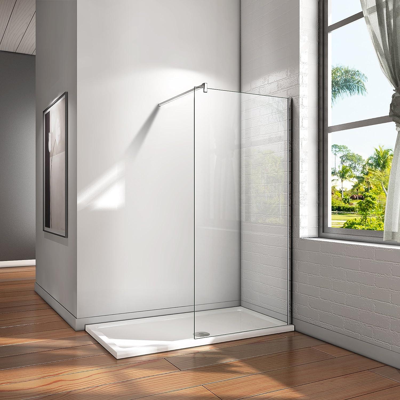 80x200cm Walk in Duschwand Duschtrennwand 8mm Easy-clean Nano Glas Duschabtrennung mit 140cm Stabilisierungsstange