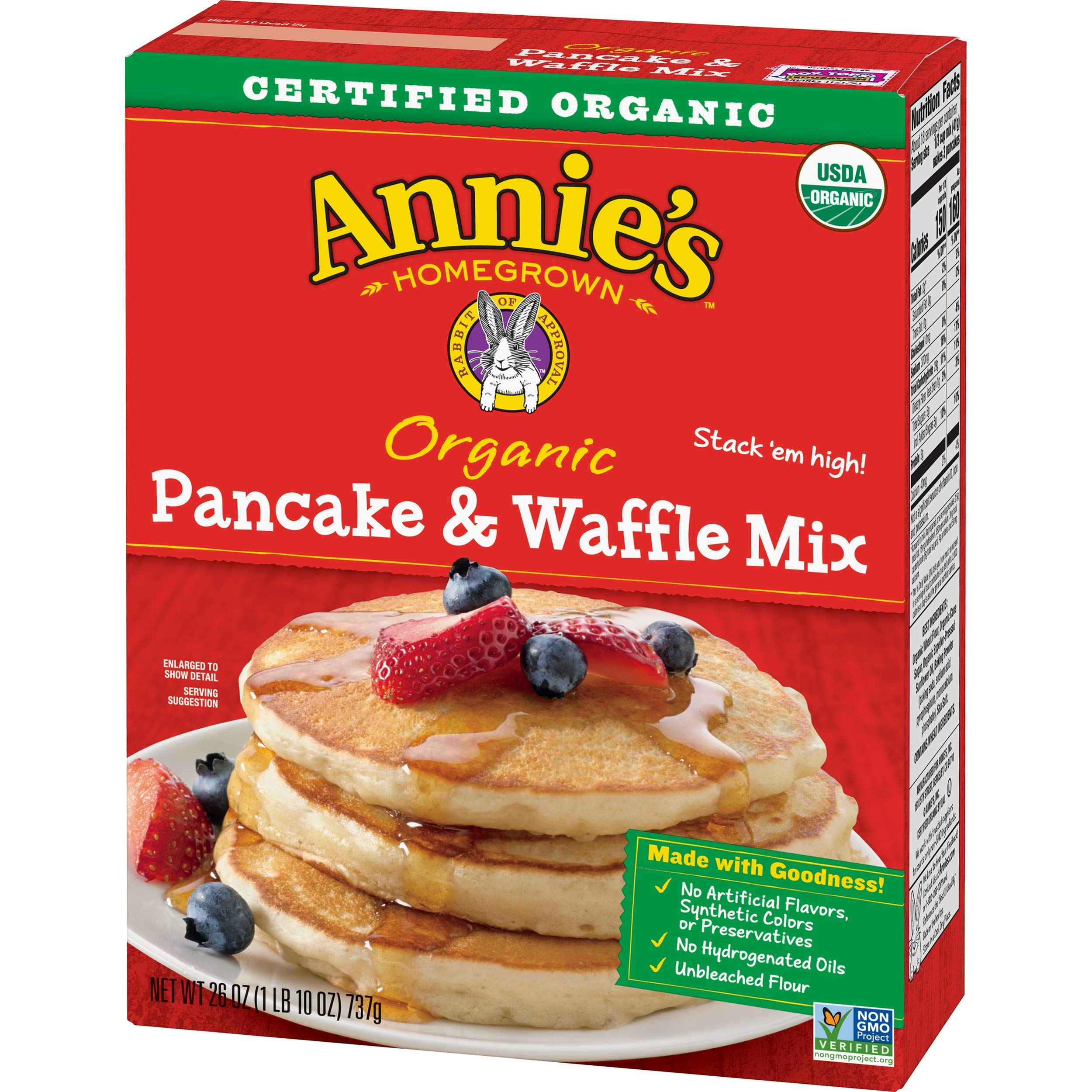 Annie's Organic Pancake and Waffle Mix Box, 26 oz (Pack of 8) by Annie's Homegrown