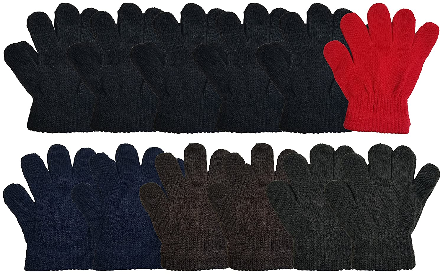 12 Pairs Winter Magic Gloves for Kids, Stretchy Warm Bulk Pack Boys Girls Children Stretchy Warm Knit Bulk Pack One Size Boys Girls Children (12 Pairs Assorted Solids)