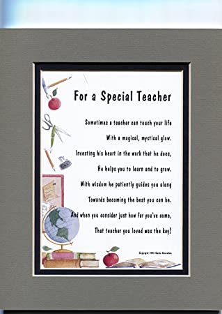 Amazoncom A Thank You Gift Present Poem For A Special Teacher