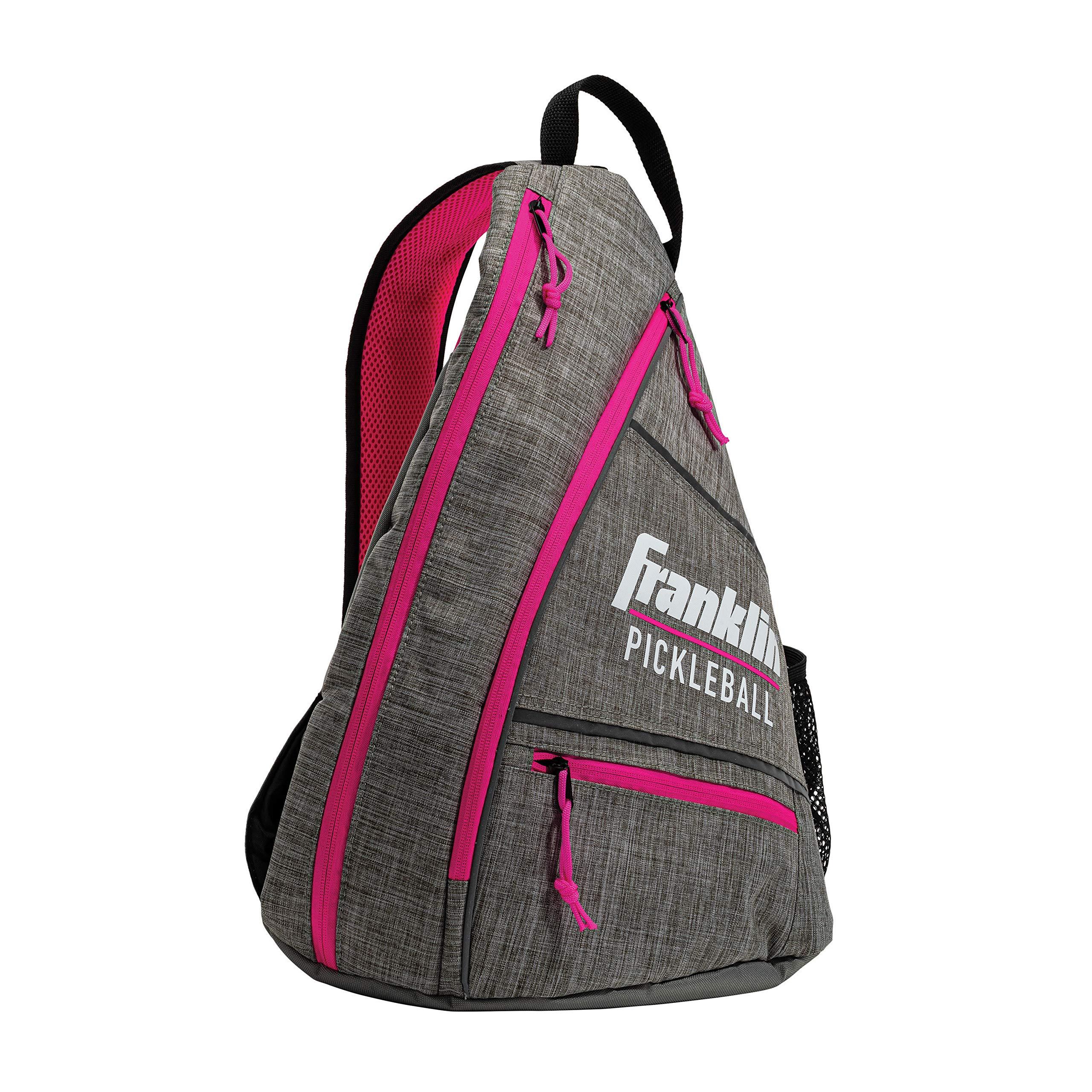 Franklin Sports Pickleball Bag - Men's and Women's Pickleball Backpack - Adjustable Sling Bag - Official Bag of U.S Open Pickleball Championships - Gray/Pink by Franklin Sports