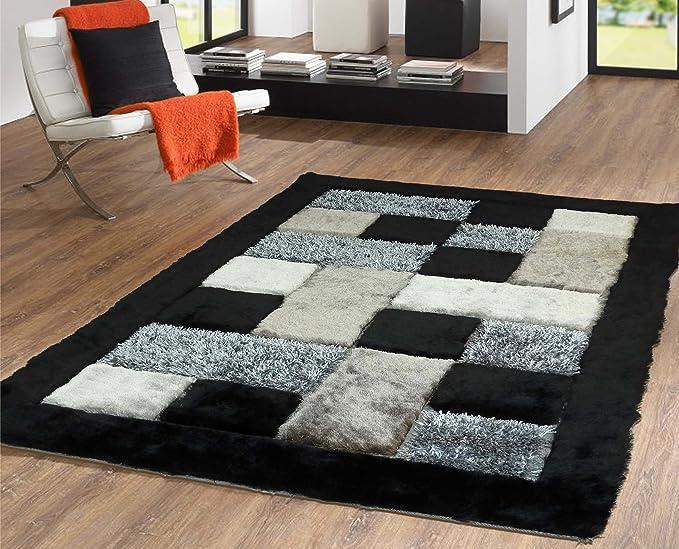 Amazon.com: Alfombra Color Blanco con Negro combination hecha a mano estilo moderno suave y lujosa , gruesa pila de tamaño 60