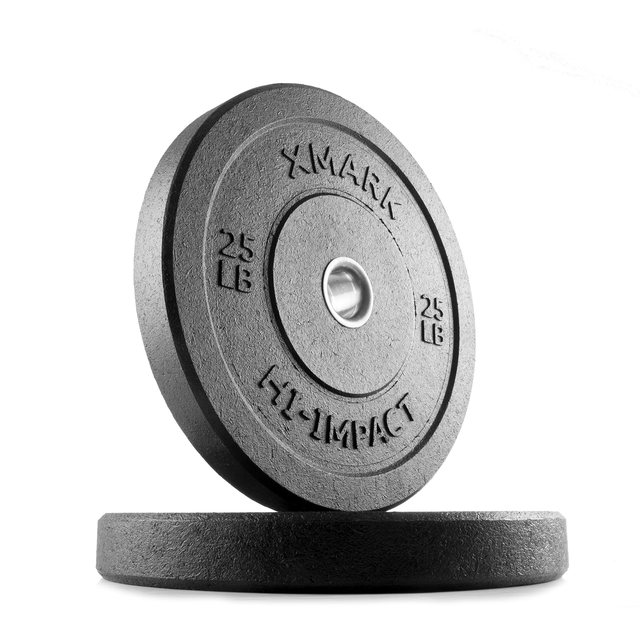 XMark 25 lb Pair Go Green Bumpers, Three-Year Warranty, Hi-Impact Commercial Olympic Bumper Weight Plates, XM-3391