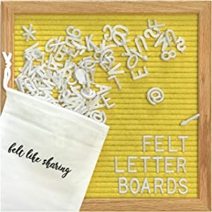 Yellow Felt Letter Board 10x10 Inches. Changeable Letter Boards Include 300 White Plastic Letters and Oak Frame.