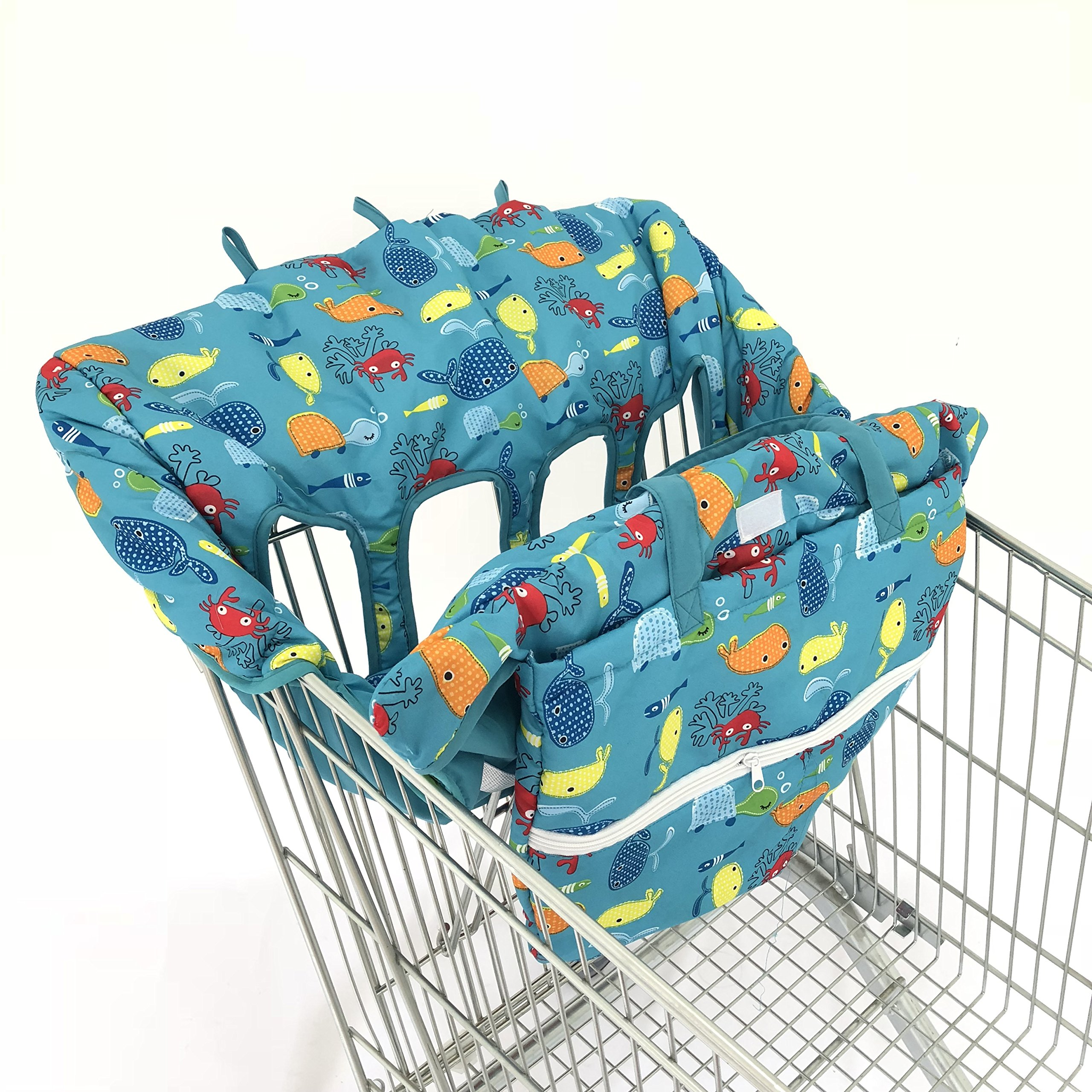 4 Legs Holes Double Babies Shopping Cart Cover for Twin or Baby Siblings. X-Large Size That was Guaranteed to Fit Wholesale Warehouse Grocery Stores (Submarine World)