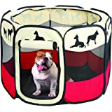 Etna Portable Foldable Pet Playpen, Indoor/Outdoor, Dog/Cat/Puppy Exercise pen Kennel, Removable Mesh Shade Cover, dog pop up silhouettes pet pen