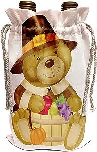 3dRose Anne Marie Baugh - Thanksgiving - Cute Thanksgiving Bear With A Barrel Of Fall Food Illustration - Wine Bag (wbg_216823_1)