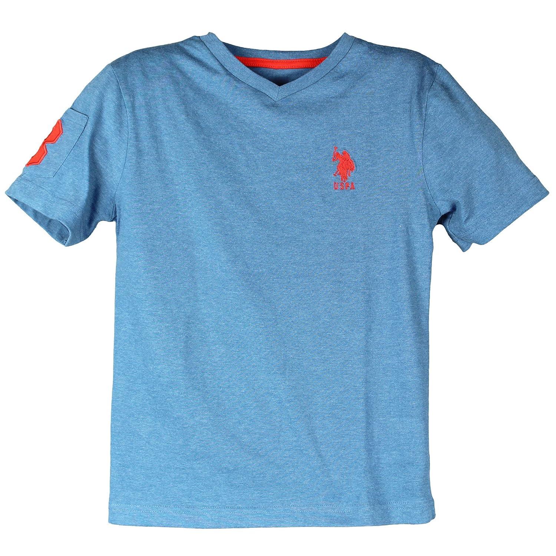 Polo Assn.. U.S USPA Big Boys Short Sleeve Solid V-Neck Large Pony T-Shirt 8-18