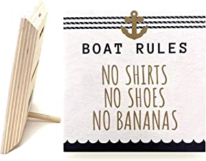 JennyGems Boat Rules No Bananas   Funny Beach House Sign   Wood Sign   Mom Gifts   Boater Gifts   Coastal Decor   Made in USA