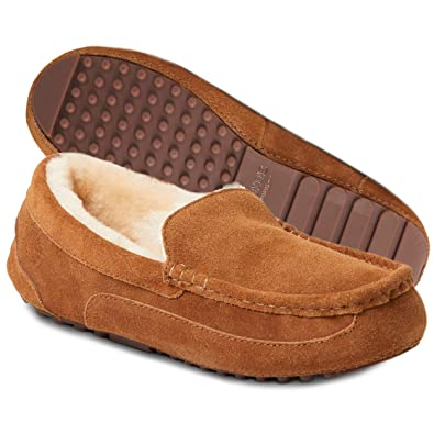 Clothes, Shoes & Accessories Mens Gents Genuine Brown Suede Fur Lined Comfort Moccasin Hard Sole Slippers