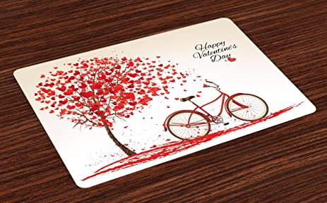 Amazon Valentines Day Place Mats by Ambesonne Romantic Tree