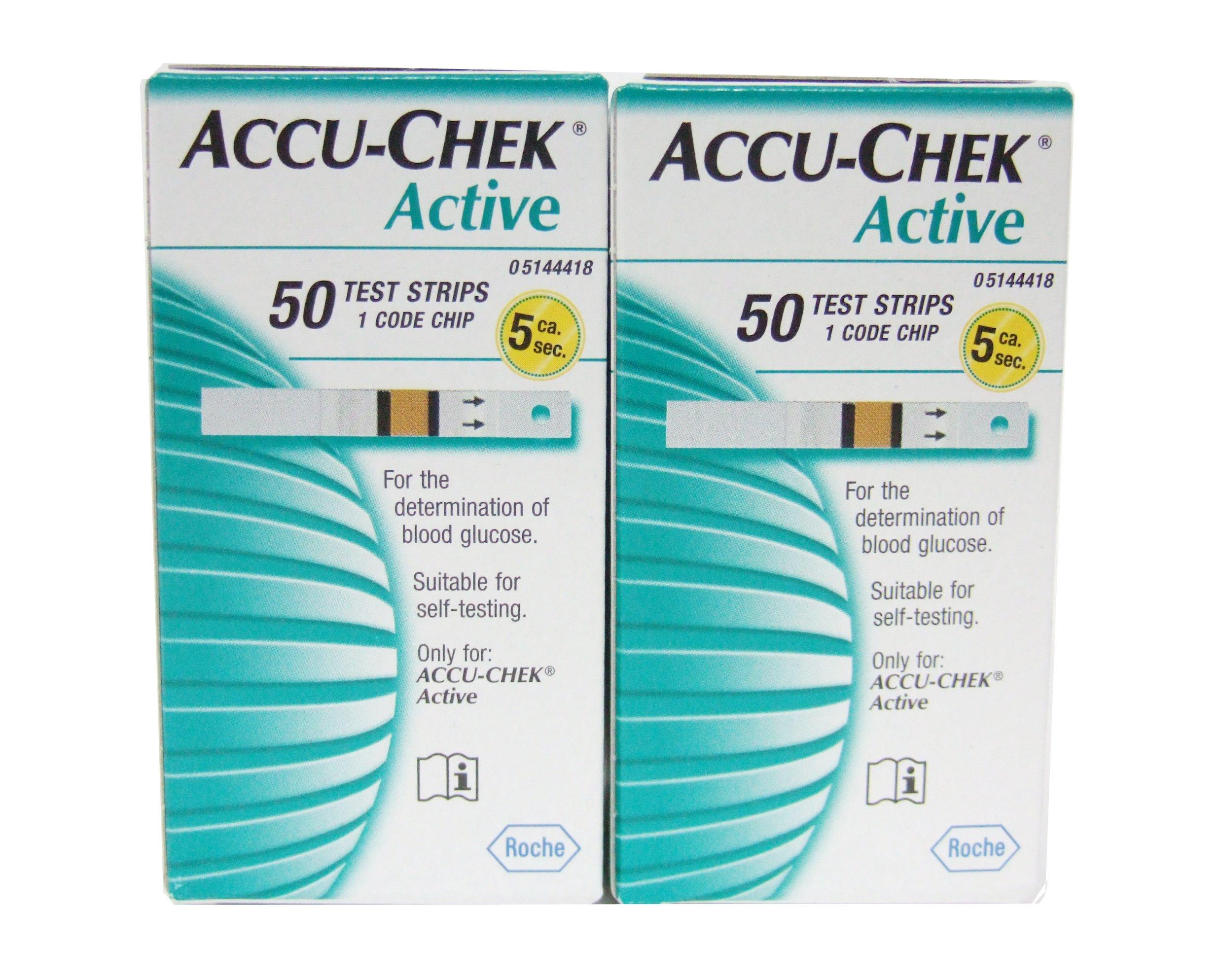 Roche ACCU-CHEK Active Diabetic Test Strips - Box of 50 (2box)
