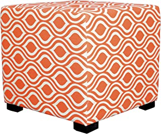 """product image for MJL Furniture Designs Upholstered Cubed/Square Nicole Series Ottoman, 17"""" x 19"""" x 19"""", Orange"""