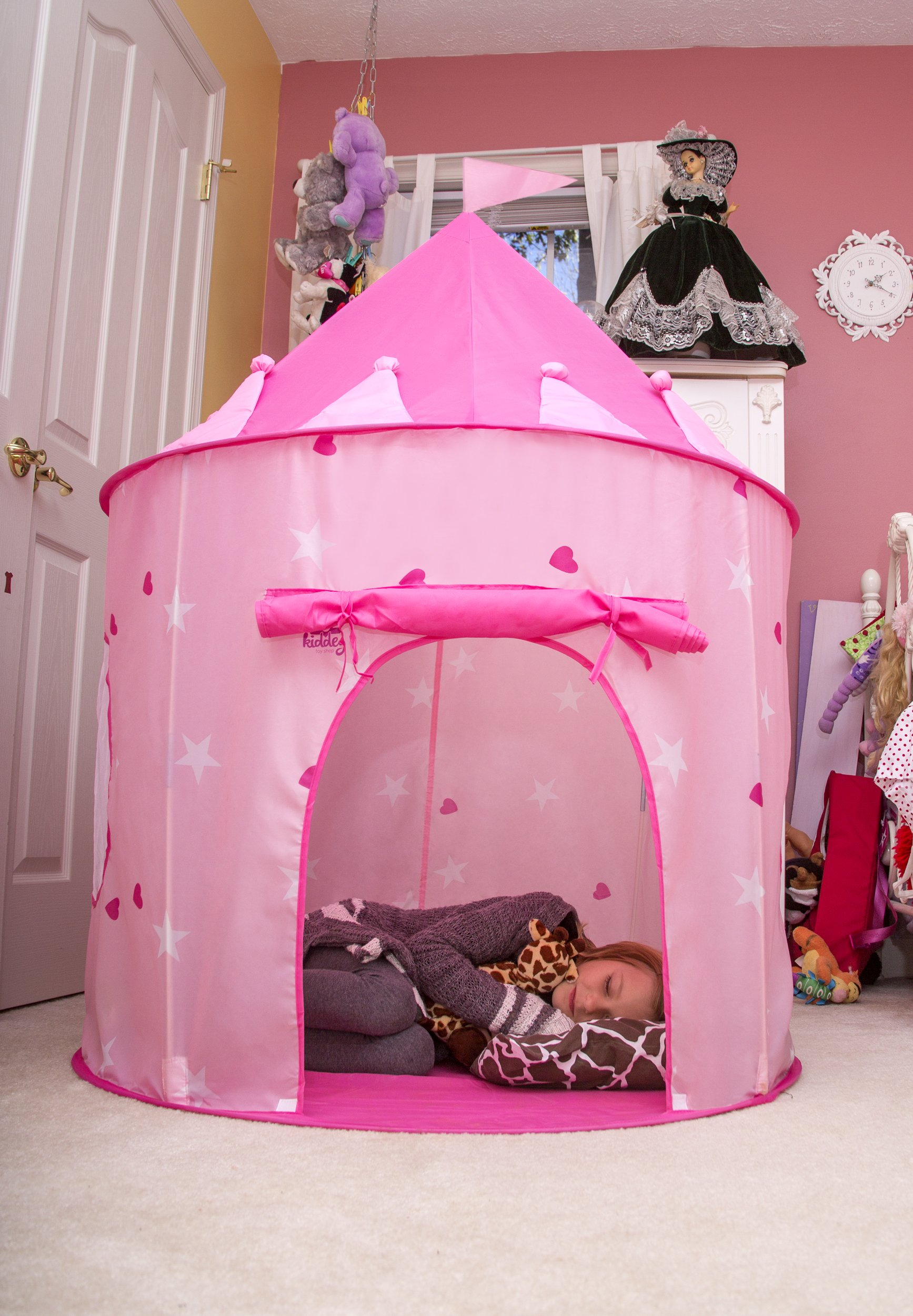 6cf9490d27e7 Kiddey Princess Castle Play Tent (Pink) – With Glow in the Dark Stars –  Indoor Outdoor Playhouse for Girls
