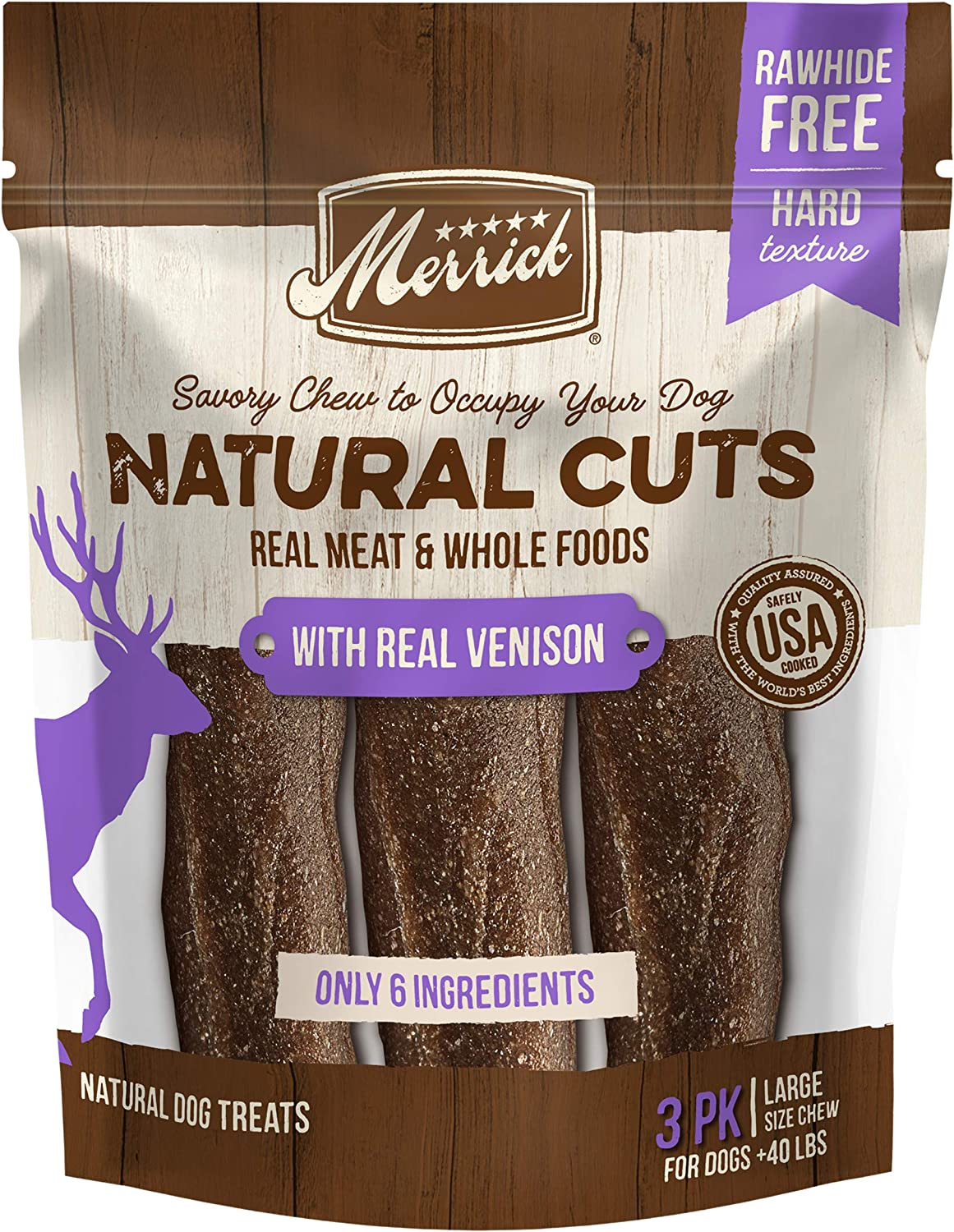 Merrick Natural Cuts Rawhide Free Dog Treats Filled Chew Made with Real Meat and Whole Foods