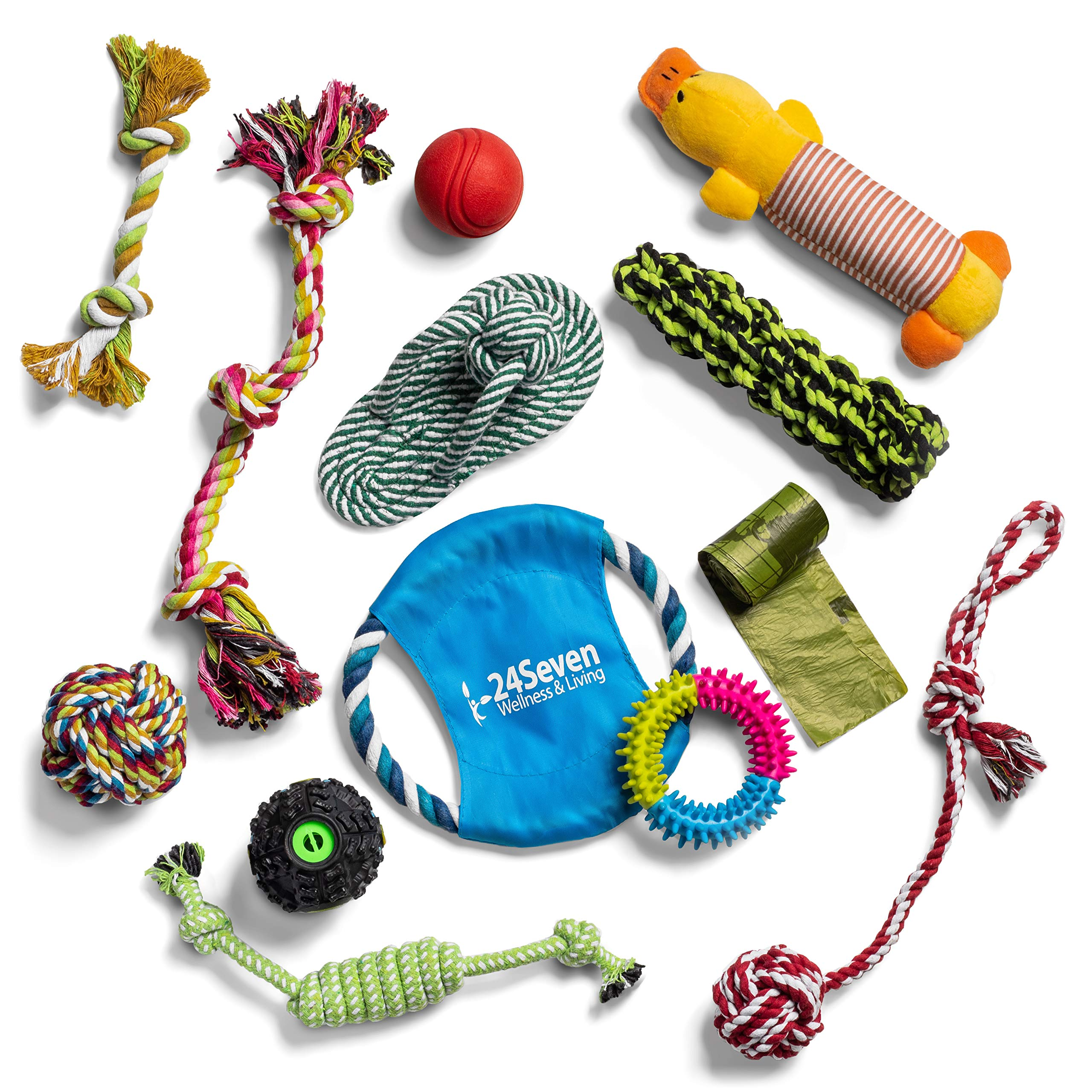 24Seven Wellness and Living Pack of 12 Rope Dog Toys for Aggressive Chewers Ideal Teething Set for Puppies and Big Dogs Who Love to Chew - Indestructible Ball, Tug Toy, Frisbee and More